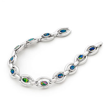 Opal Jewellery Sterling Silver Light Opal Doublet Bracelet, opal jewellery