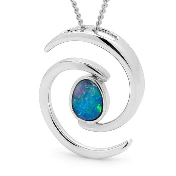Opal Jewellery Sterling  Silver Light Opal Doublet  Pendant , opal jewellery