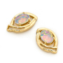 Opal Jewelry 14k Yellow Gold Solid Light Opal Earring, opal jewellery