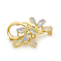 Opal Jewelry 18k Yellow Gold Solid Light Opal Brooch, opal jewellery