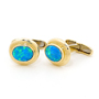 Opal Jewelry 14k Yellow Gold Light Opal Doublet Cuff Link, opal jewellery