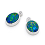 Opal Jewellery 14k White Gold Light Opal Doublet Earring, opal jewellery