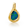 Opal Jewelry 18k Yellow Gold Light Opal Doublet Pendant, opal jewellery
