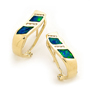 Opal Jewelry 14k Yellow Gold Solid Inlay Opal Earring, opal jewellery