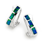 Opal Jewelry 14k White Gold Solid Inlay Opal Earring, opal jewellery