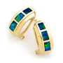 Opal Jewellery 14K Yellow Gold Solid Inlay Opal Earring, opal jewellery