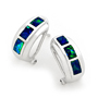 Opal Jewellery 14K White Gold Solid Inlay Opal Earring, opal jewellery
