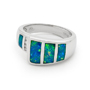 Opal Jewelry 14k White Gold Solid Inlay Opal Ring, opal jewellery