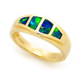 Opal Jewelry 14k Yellow Gold Solid Inlay Opal Ring, opal jewellery