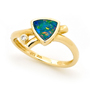 Opal Jewelry 14k Yellow Gold Light Opal Doublet Ring, opal jewellery