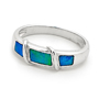 Opal Jewellery Sterling Silver Solid Inlay Opal Ring, opal jewellery