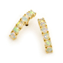 Opal Jewelry 18k Yellow Gold Solid Light Opal Earring, opal jewellery