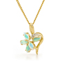 Opal Jewelry 18k Yellow Gold Solid Light Opal Pendant, opal jewellery