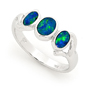 Opal Jewellery 14k White Gold Light Opal Doublet Ring, opal jewellery