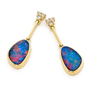 Opal Jewellery 14K Yellow Gold Light Opal Doublet Earring, opal jewellery