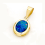 Opal Jewelry 14k Yellow Gold Light Opal Doublet Pendant, opal jewellery