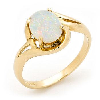OAAR16 14k Yellow Gold Solid Light Opal Ring Opals Australia