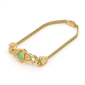 Opal Jewellery 18k Yellow Gold Solid Light Opal Bracelet, opal jewellery