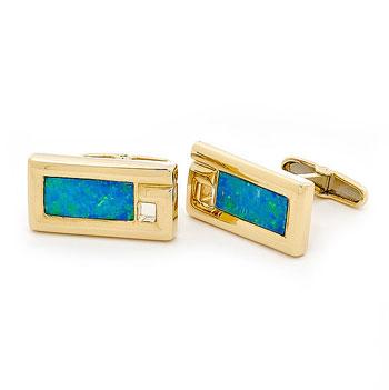 Opal Jewellery 14k Yellow Gold Light Opal Doublet Cuff Link, opal jewellery