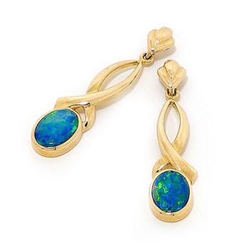 Opal Jewellery 14k Yellow Gold Light Opal Doublet Earring, opal jewellery