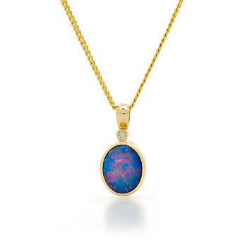 Opal Jewellery 14k Yellow Gold Light Opal Doublet Pendant, opal jewellery