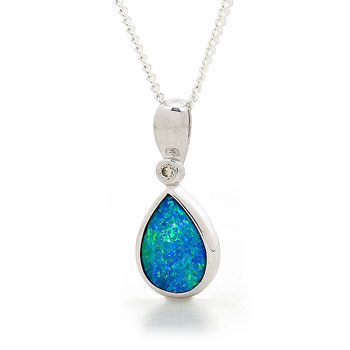 Opal Jewellery 14k White Gold Light Opal Doublet Pendant, opal jewellery