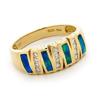 Opal Jewellery 14k Yellow Gold Solid Inlay Opal Ring, opal jewellery