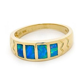Opal Jewellery 14k Yellow Gold Solid Inlay Opal Ring, opal jewellery