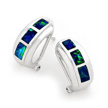 Opal Jewellery 14K White Gold Solid Inlay Opal Earring, opal jewellery