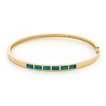 Opal Jewellery 14k Yellow Gold Solid Inlay Opal Bangle, opal jewellery