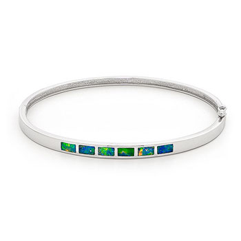 Opal Jewellery 14k White Gold Solid Inlay Opal Bangle, opal jewellery
