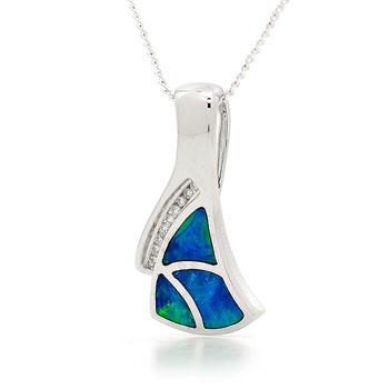 Opal Jewellery 14k White Gold Solid Inlay Opal Pendant, opal jewellery