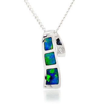 Opal Jewellery 14k White Gold Solid Inlay Opal Pendant, opal jewellery
