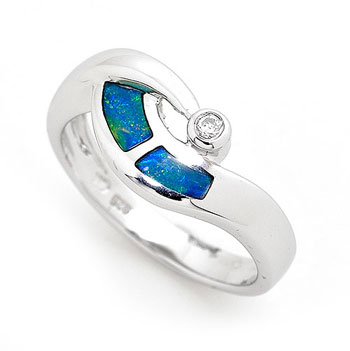 Opal Jewellery Sterling Silver Light Opal Doublet Ring, opal jewellery