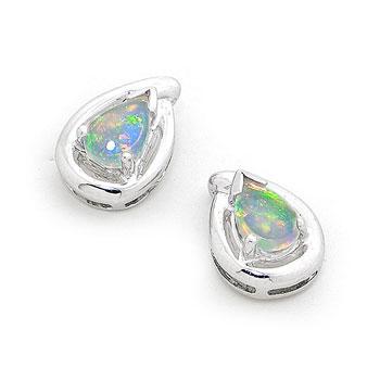 Opal Jewellery 18k White Gold Solid Light Opal Earring, opal jewellery