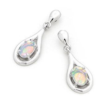 Opal Jewellery 14k White Gold Solid Light Opal Earring, opal jewellery