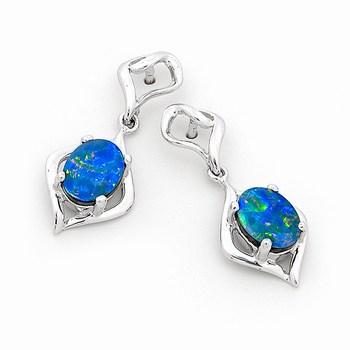 Opal Jewellery 14k White Gold Light Opal Doublet Earring, opal jewellery