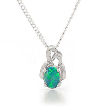 Opal Jewellery 14k White Gold Solid Light Opal Pendant, opal jewellery