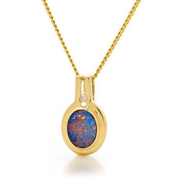 Opal Jewellery 18k Yellow Gold Light Opal Doublet Pendant, opal jewellery