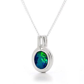 Opal Jewellery 18k White Gold Light Opal Doublet Pendant, opal jewellery