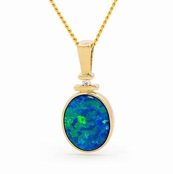 Opal Jewellery 14k Yellow Gold Light Opal Doublet Pendant, opal jewellery