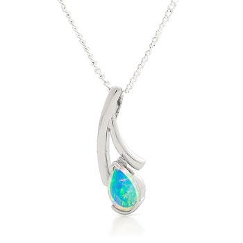 Opal Jewellery 18k White Gold Solid Light Opal Pendant, opal jewellery