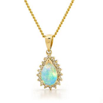Opal Jewellery 18k Yellow Gold Solid Light Opal Pendant, opal jewellery