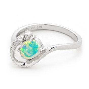 Opal Jewellery 14k White Gold Solid Light Opal Ring, opal jewellery
