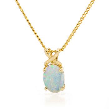 Opal Jewellery 14k Yellow Gold Solid Light Opal Pendant, opal jewellery
