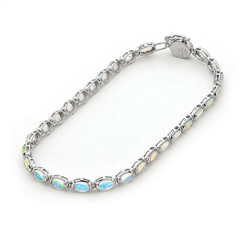 Oaob18w 5 14k White Gold Solid Light Opal Bracelet Opals
