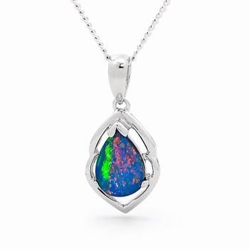 Opal Jewellery 14k White Gold Light Opal Doublet Pendant, opal jewellery