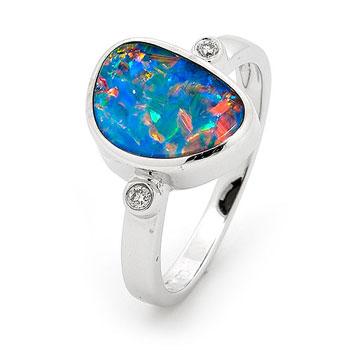 Opal Jewellery 18k White Gold Light Opal Doublet Ring, opal jewellery