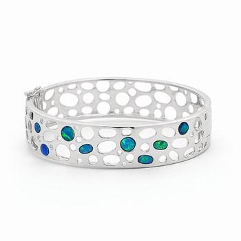 Opal Jewellery Sterling Silver Light Opal Doublet Bangle, opal jewellery