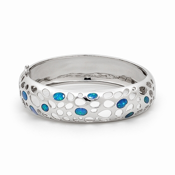 Opal Jewellery Sterling Silver Light Opal Doublet Bangle, opal jewellery